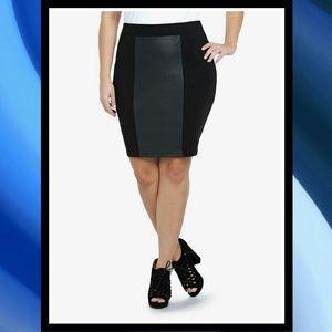 TORRID Plus Size Faux Leather Panel Mini Skirt